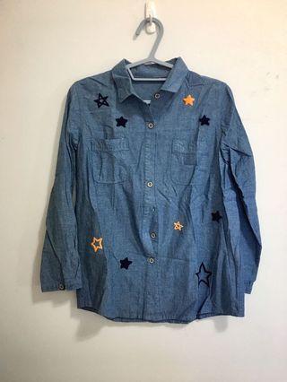 星星刺繡 牛仔襯衫 薄外套