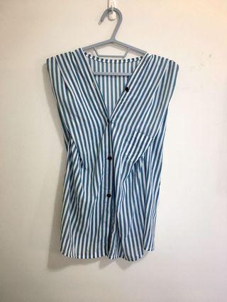 雪紡直條紋造型上衣 V領襯衫