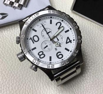 Nixon 51-30 Stainless Steel White Dial Watch A083-100