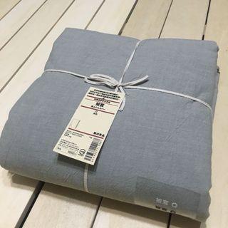 無印良品 MUJI 柔舒水洗棉 被套 米灰色 Q