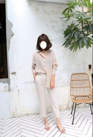 轉賣💕 SHIN 超舒適棉麻反摺小直筒褲