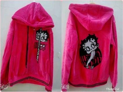 精品店購入 歐美個性設計款 BETTY BOOP 貝蒂 卡通圖 貼鑽 抽繩綁帶 絨質內刷毛 拉鍊夾克外套 保暖 連帽外套