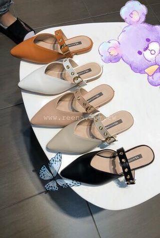 正韓。韓製。韓國。made in Korea。金頭金屬釦環穆勒鞋 拖鞋 黑25