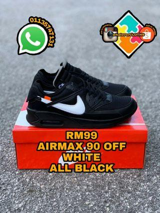 AIRMAX 90 OFF WHITE ALL BLACK (pm me for more size)