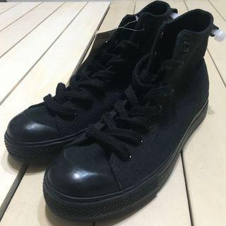 無印良品 MUJI 休閒鞋 帆布鞋 撥水加工 高筒 黑色