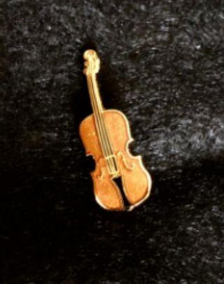 Violin Collar pin/ brooch, handmade USA, 24K gold plated