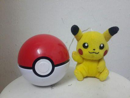 Picachu plush hanging doll and pokeboll