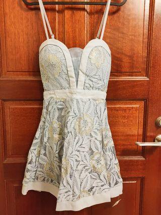 夢幻蕾絲-淺藍燙金小禮服