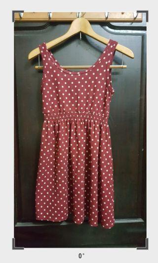 紅色性感波點小洋裝