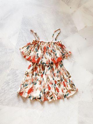 Creamy Flowery Romper / Jumpsuit #Lelong80