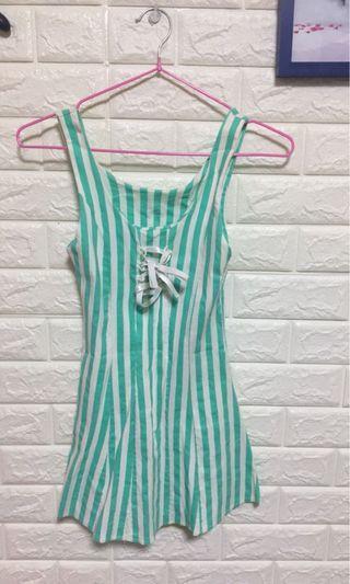 綠色條紋上衣無袖上衣洋裝短洋裝
