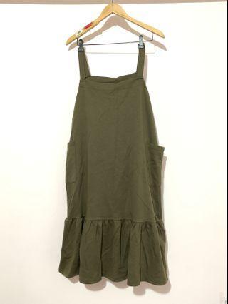 正韓軍綠色背心裙洋裝