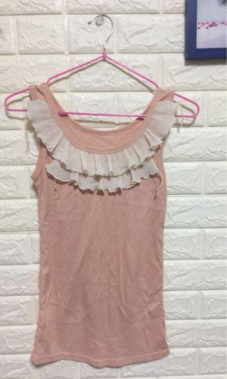 珍珠荷葉背心上衣裸粉色
