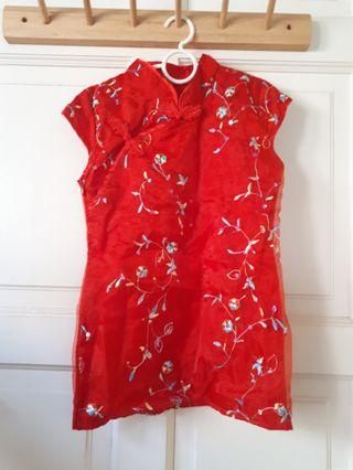 Elegant Kids cheongsam with sheer dress and embroidery #1010