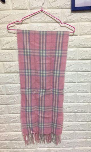 粉色格子圍巾