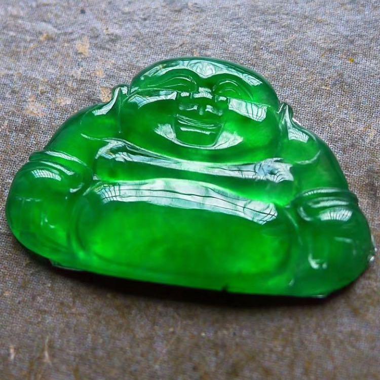 老坑冰種正陽綠起光佛公翡翠鑲件 天然A貨翡翠