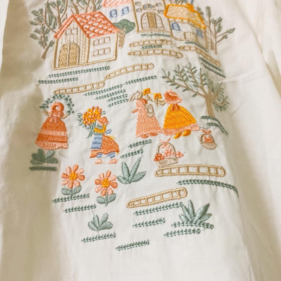 古著日系農家小院刺繡花邊襯衫