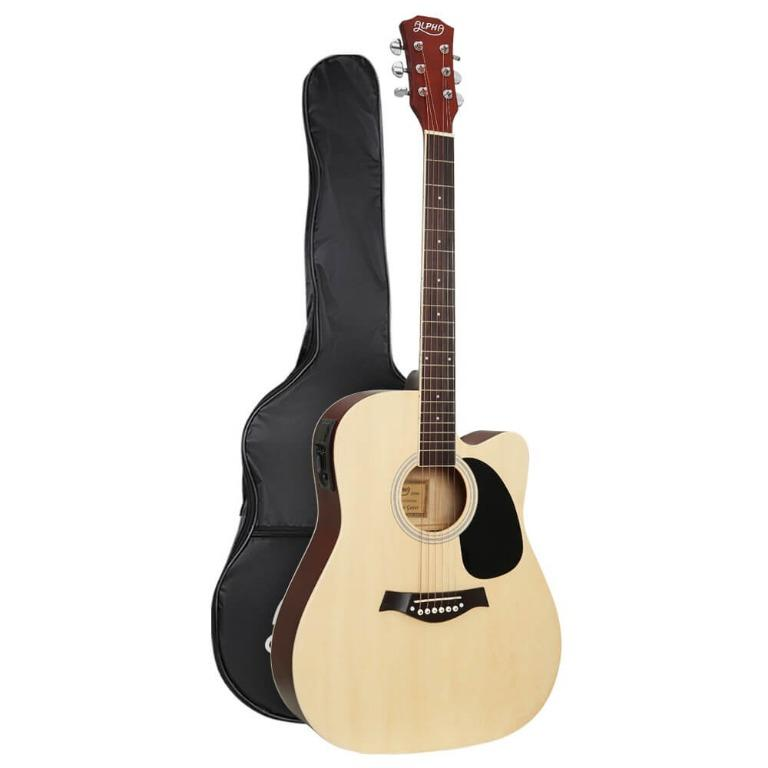 Alpha 41″ Inch Electric Acoustic Guitar Wooden Classical EQ With Pickup Bass Natural