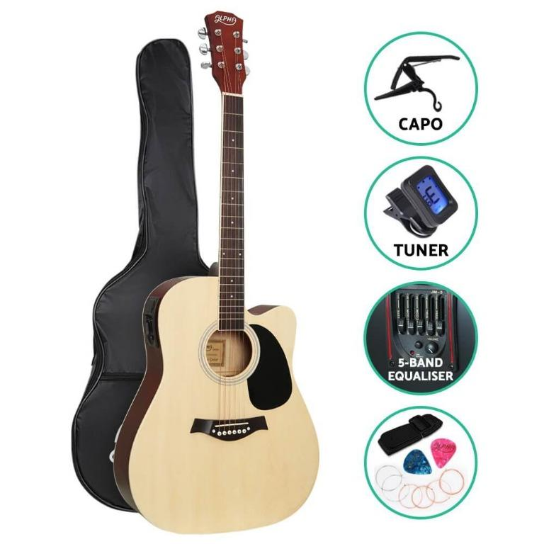 Alpha 41″ Inch Electric Acoustic Guitar Wooden Classical with Pickup Capo Tuner Bass Natural