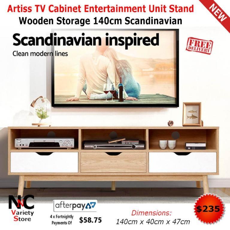 Artiss TV Cabinet Entertainment Unit Stand Wooden Storage 140cm Scandinavian