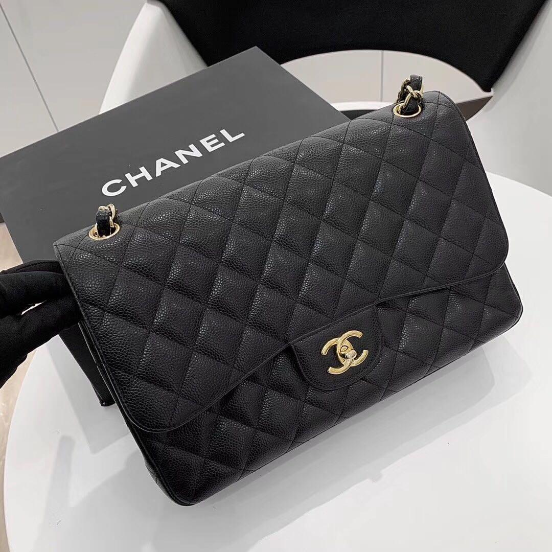 Authentic Pre-loved Chanel Jumbo Caviar Leather Double Flap GHW