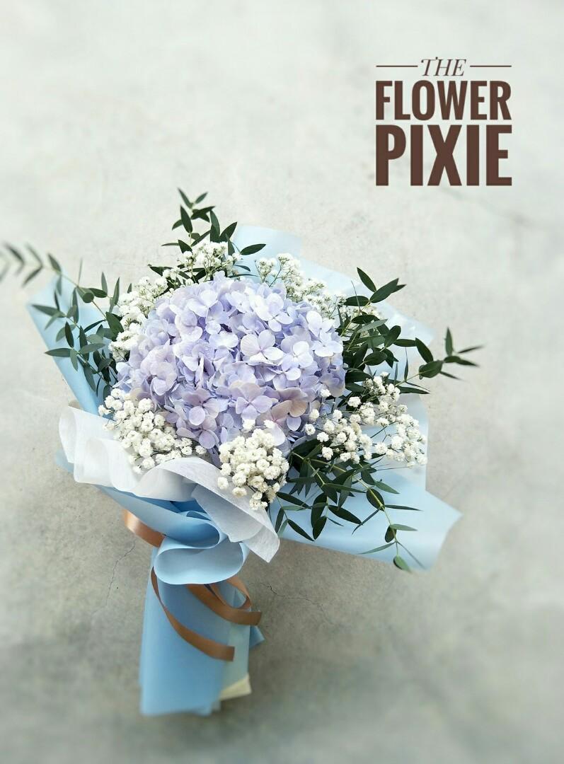 B41: Blue Hydrangea with Baby's Breathes Bouquet|Birthday Flower|Anniversary Flower|Proposal Flower|Graduation Flower|Florist|Flower Delivery