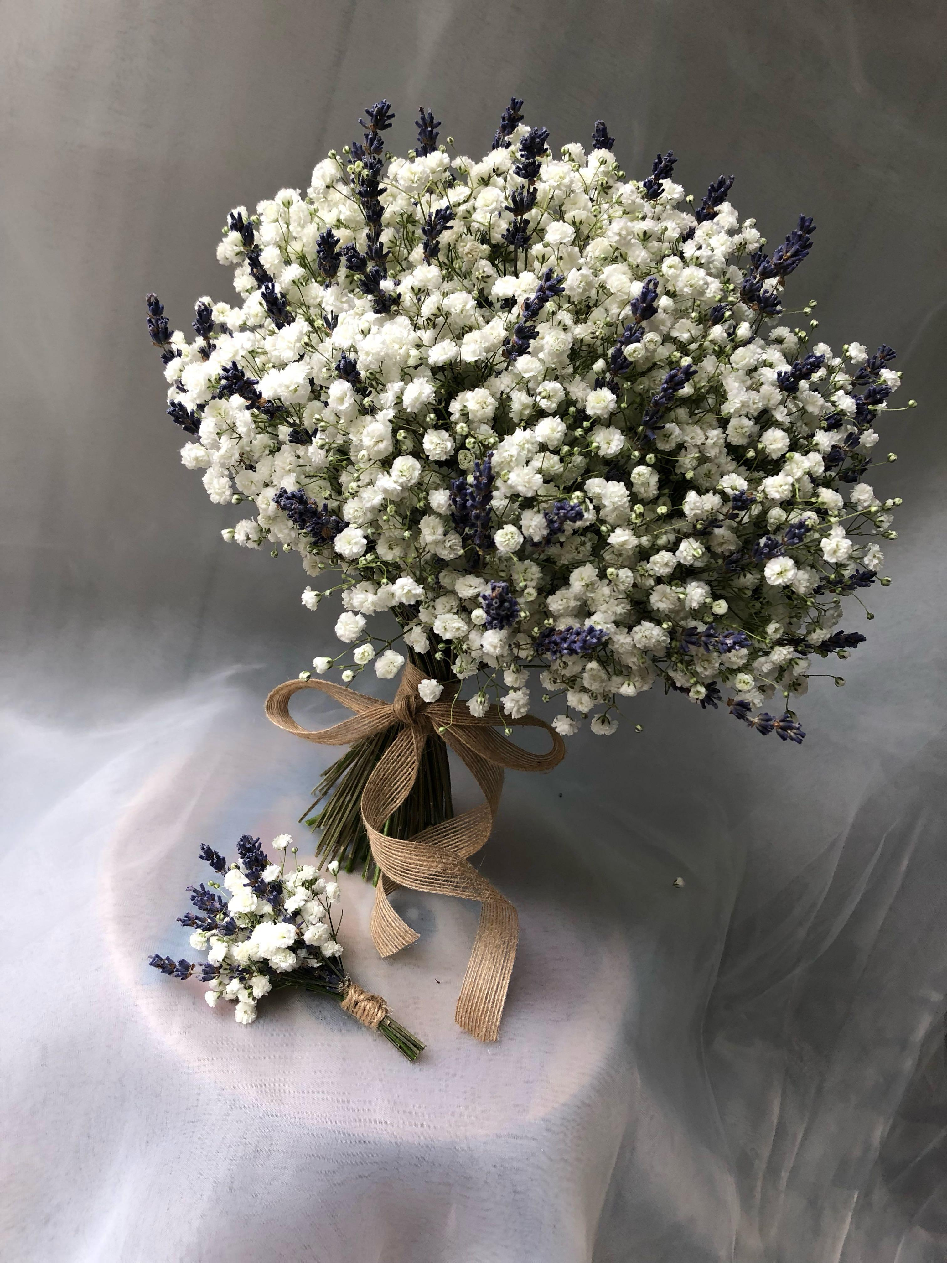 Baby S Breath Lavender Wedding Bouquet Gardening Flowers Bouquets On Carousell