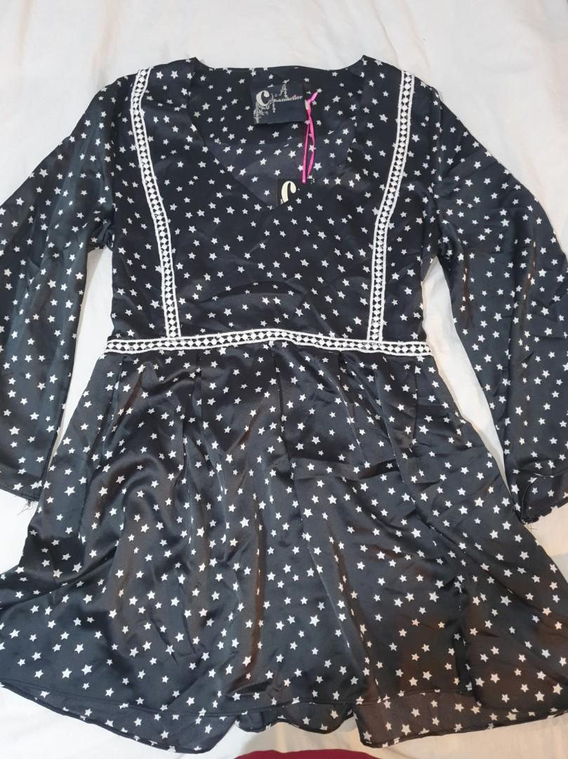 Black starry satin long sleeve mini dress star print XL
