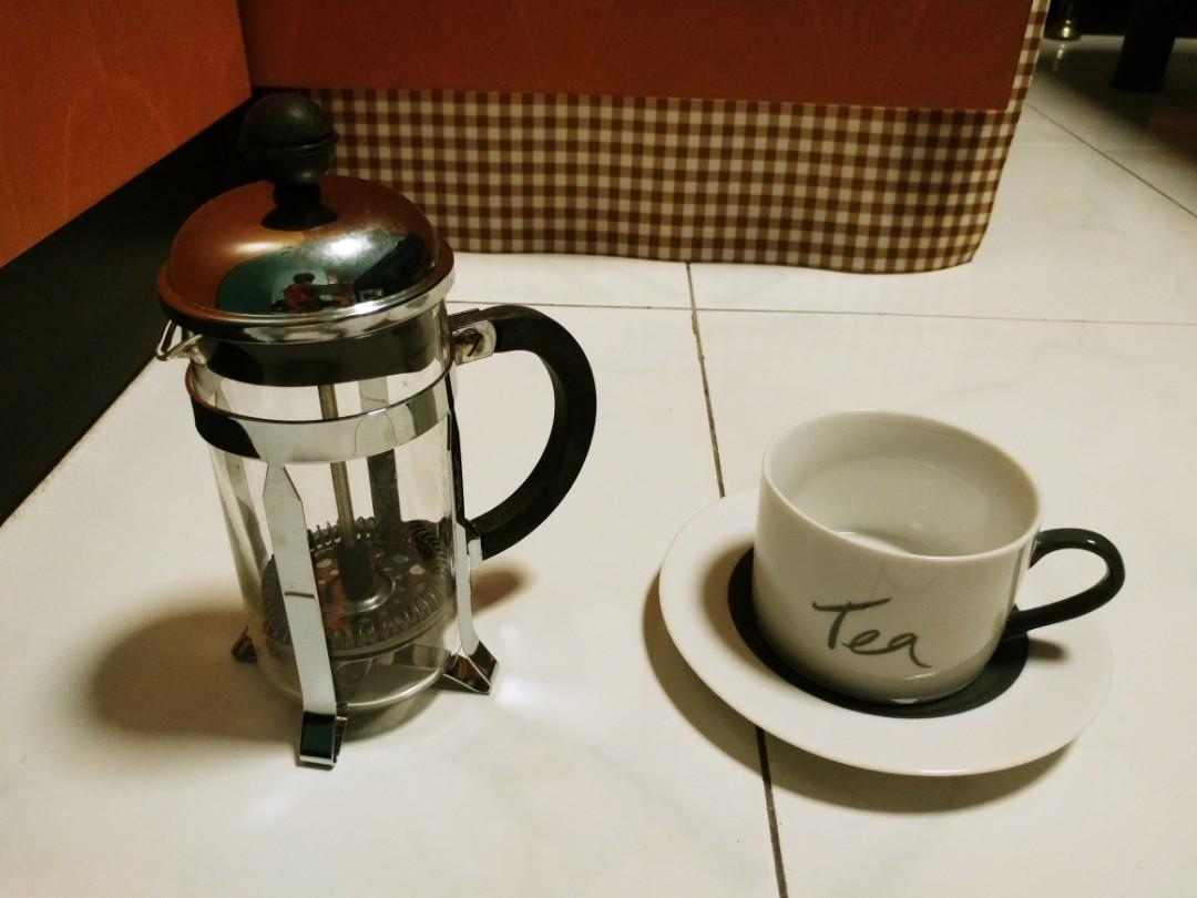 Bodun french press with saucer n cup.