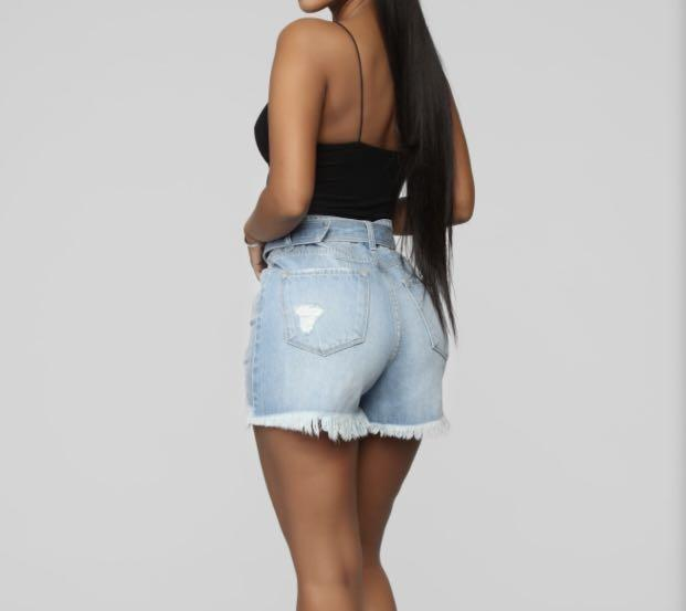 Brand new denim distressed size 5 high waisted shorts