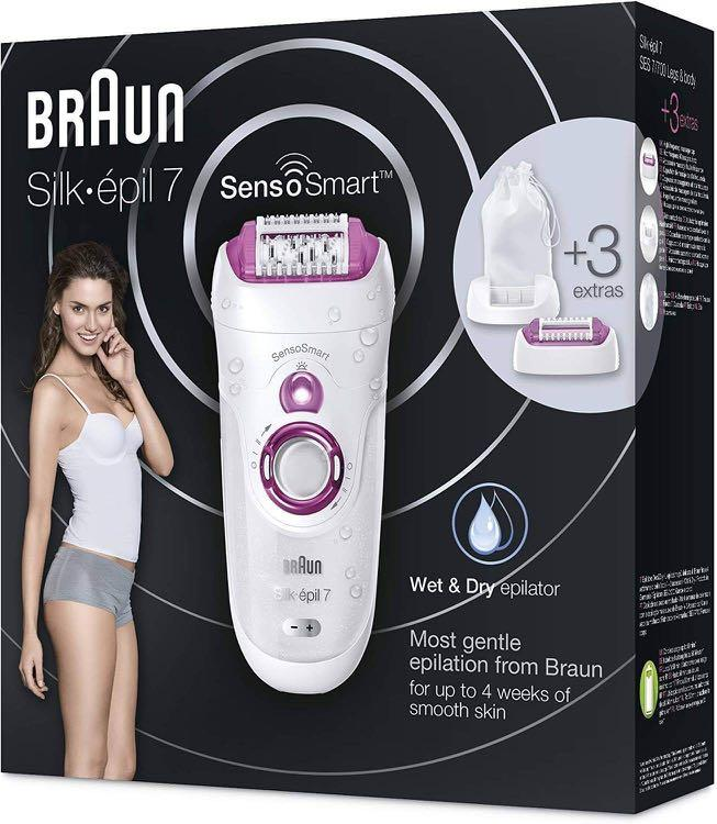 Braun Silk-Epil 7 7-700 SensoSmart Cordless Wet and Dry Epilator with 3 Extras, Pink