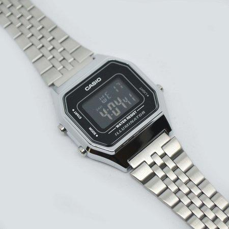 Casio VINTAGE LA680WA-1B Ladies Digital YOUTH Design Classic Black Screen Dial Stainless Steel Strap Original Watch