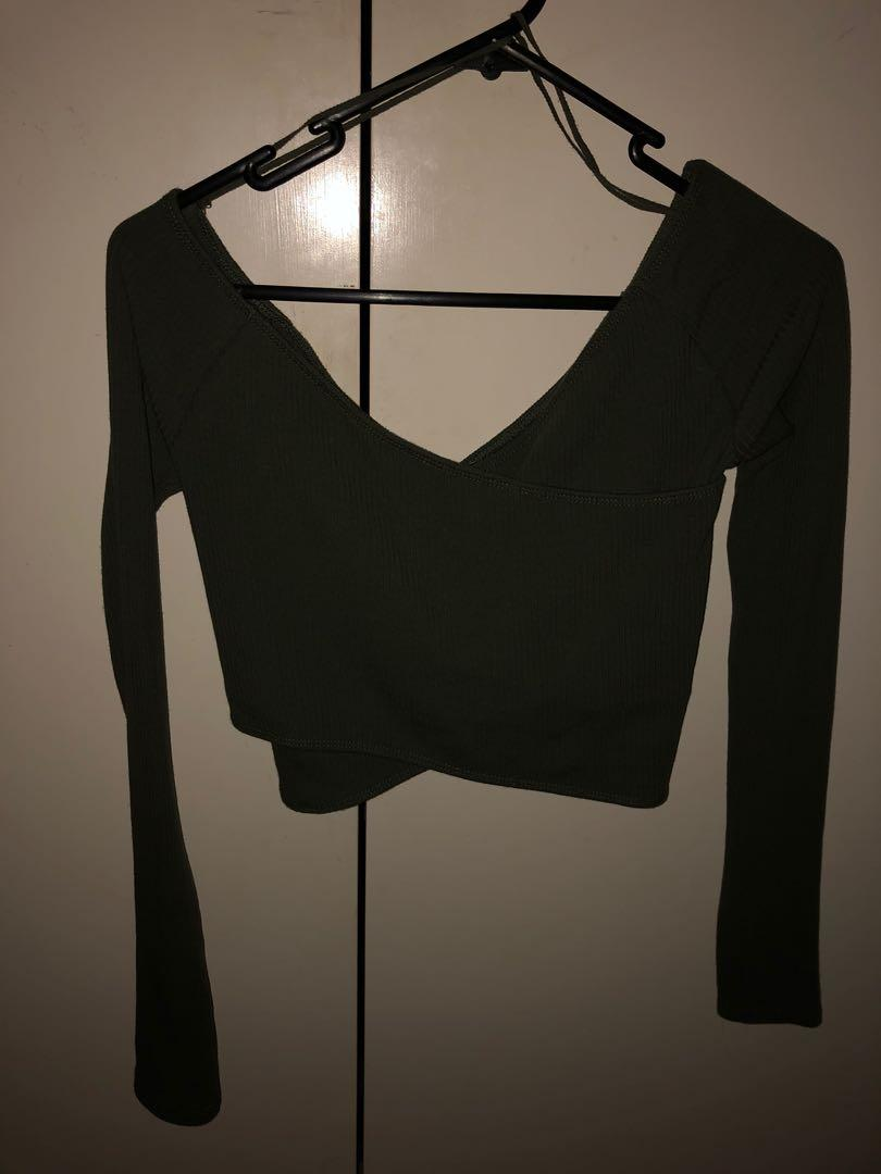 Crossover/off the shoulder long sleeved top- ribbed