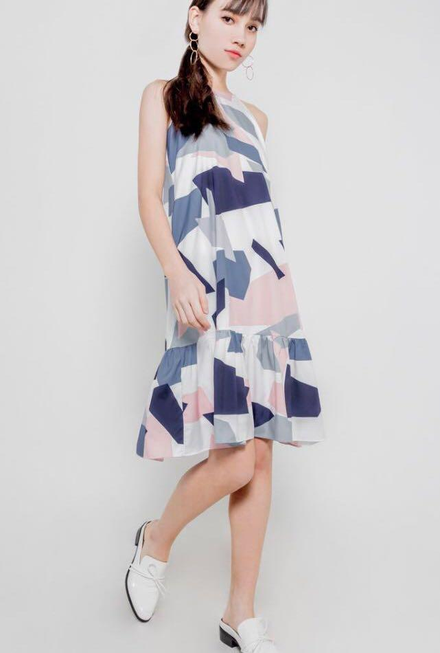 Danity Roses Geometric Print Midi Ruffle Dress