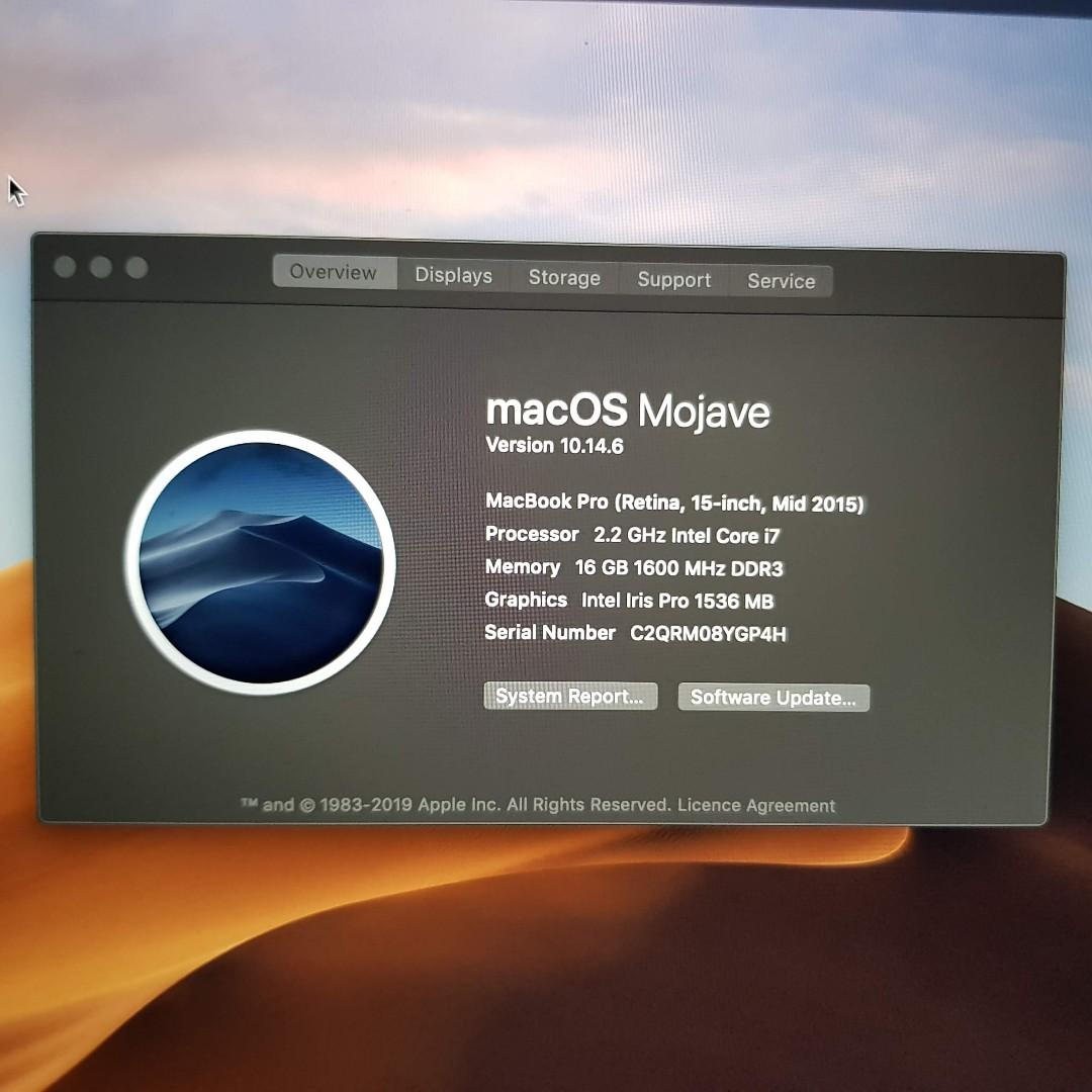 Excellent MacBook Pro 15 inch 2015 with new battery (256SSD)