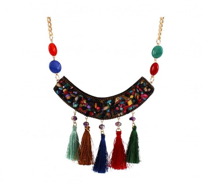 Exquisite Colourful Beads and Threads Statement Necklace #47