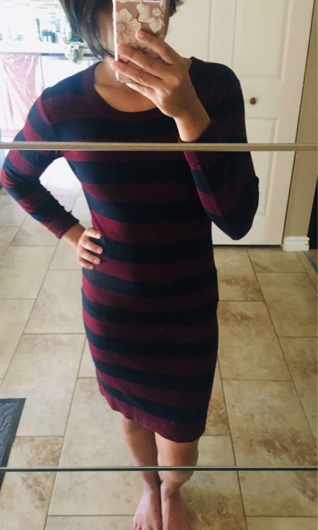 French Connection Burgundy and Blue Striped Dress- Size 4