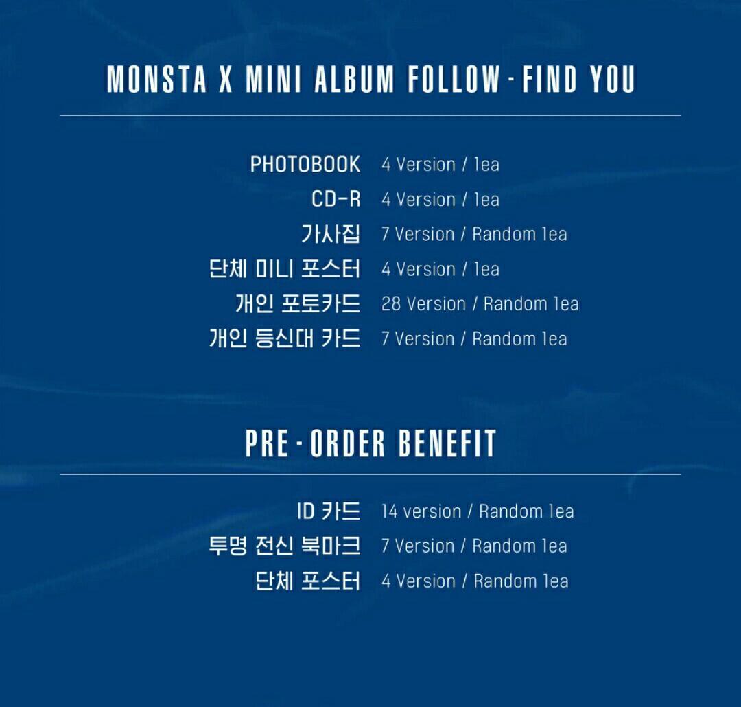 [FULL SET] MONSTA X MINI ALBUM FOLLOW:FIND YOU
