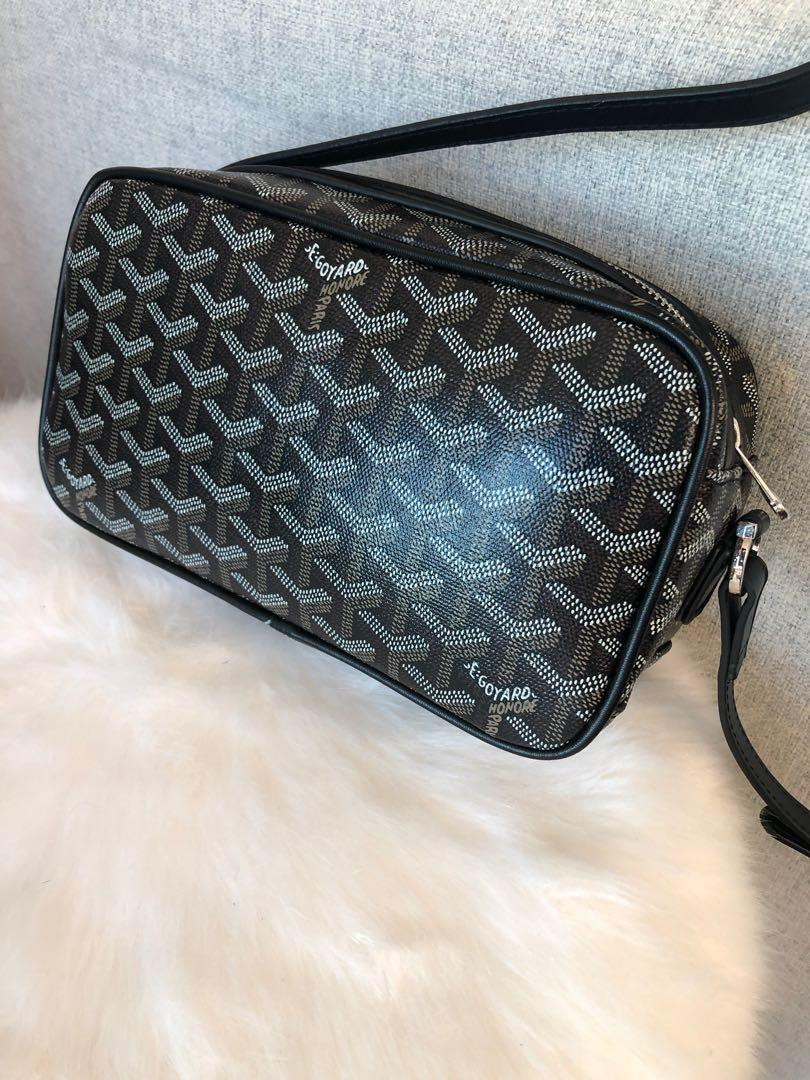 Goyard Black Chevron Print Coated Canvas Crossbody Bag