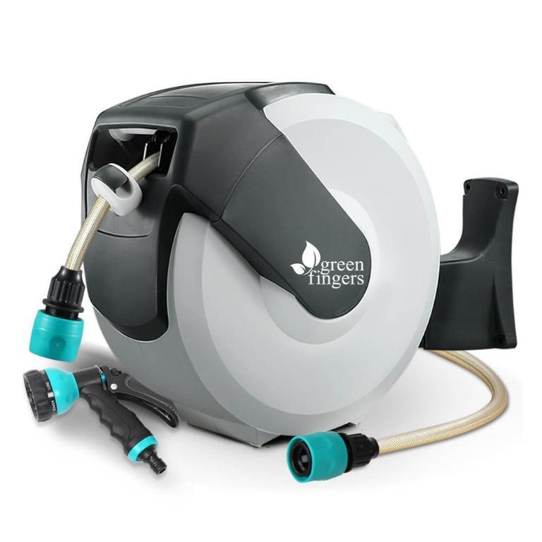 Greenfingers Retractable Hose Reel 30M Garden Water Spray Gun Auto Rewind