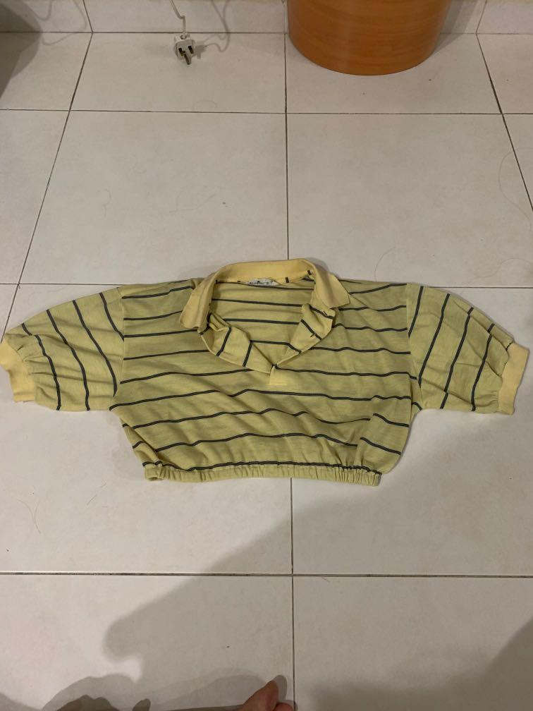 [INSTOCK] Yellow Striped Polo Crop Top