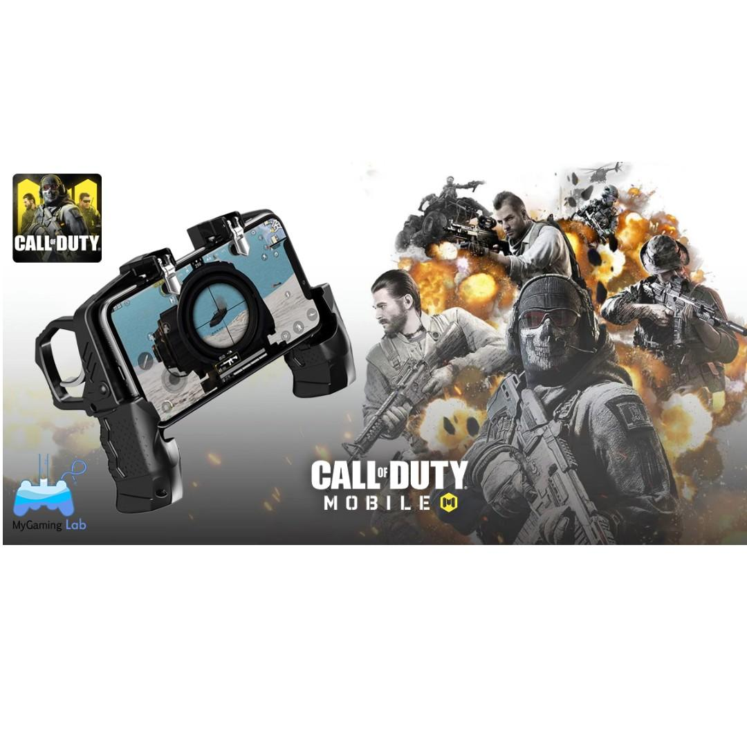 [IN-STOCK]🔥Hot Sale🔥COD Gamepad K21 Four Fingers Controller Metal Trigger Shooting Free Fire Joystick Game Grip for Call of Duty Mobile PlayerUnknown's Battlegrounds PUBG