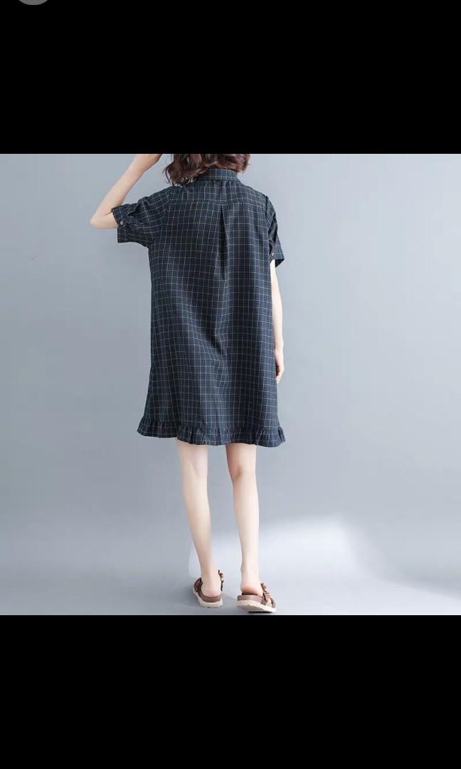 L - 2XL Ladies plus size dress plaid dress