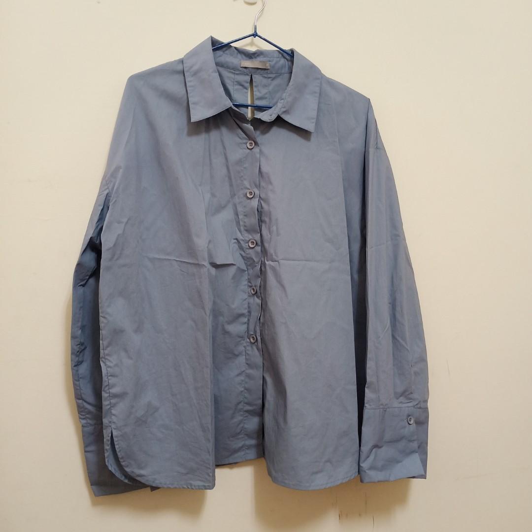 Meier.q隨性感後綁帶寬袖襯衫(灰藍)
