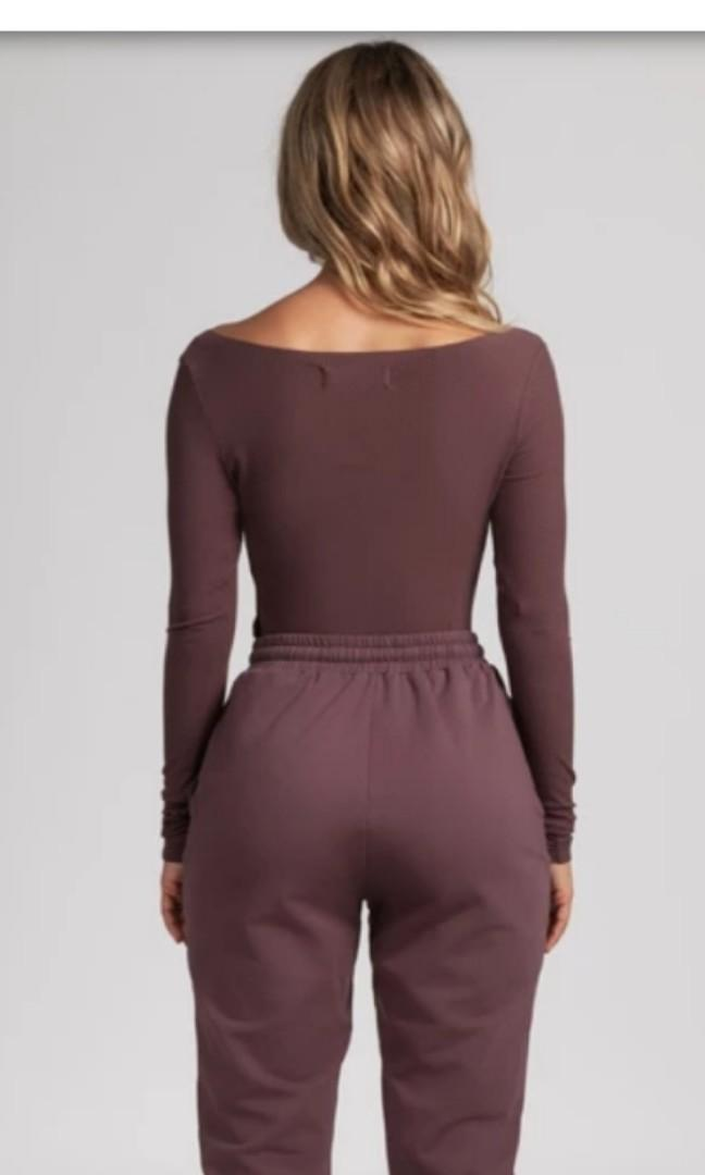 Meshki malene v-neck ribbed bodysuit in mauve red purple