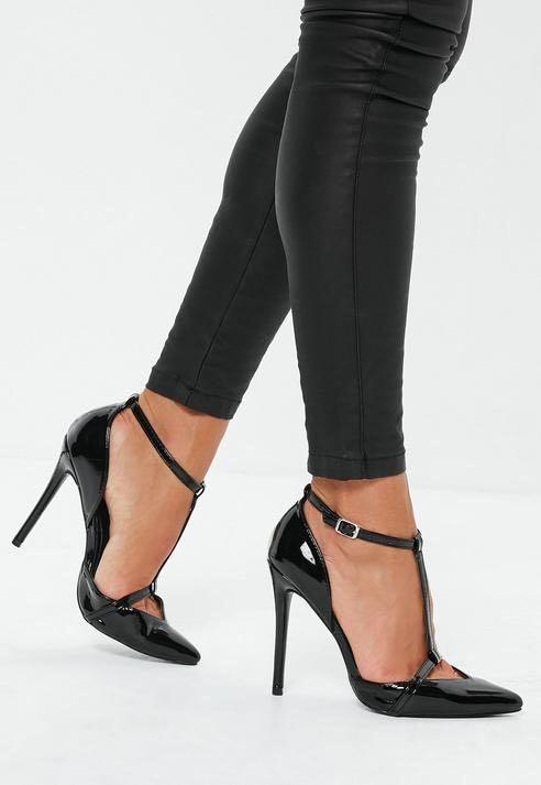 Missguided black t-bar heels