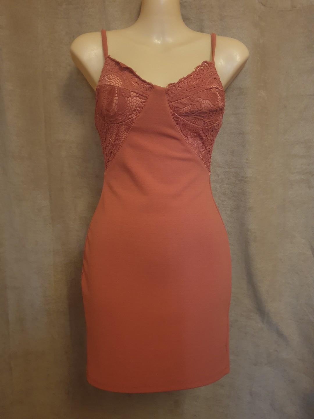 Morning Mist Rust Lace Bodycon Dress Size 6 Good Preloved Condition