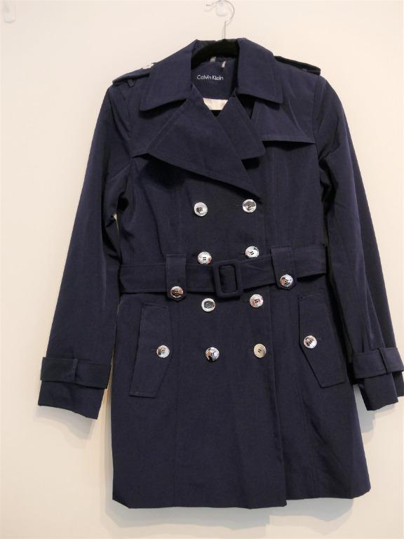 New Calvin Klein Double-Breasted Button Front Trench Coat Size S