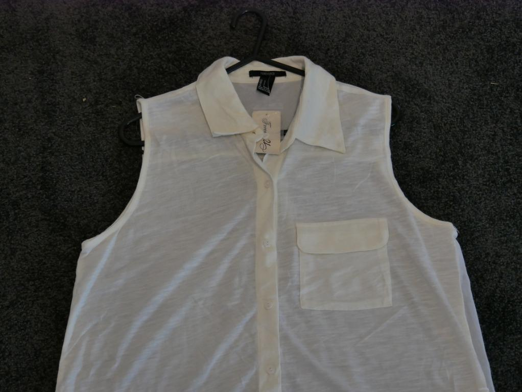 New Forever 21 White Singlet with Sheer Back Size S