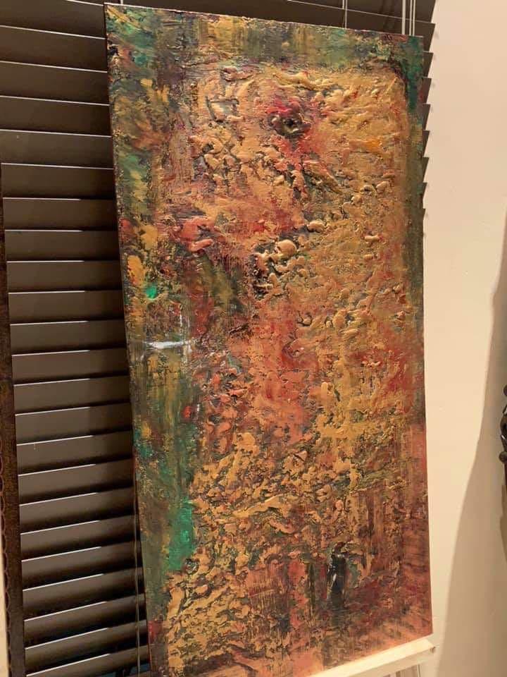 "Original Art Acrylic Wood Painting ""Treasure Series: Crest Of Success"""